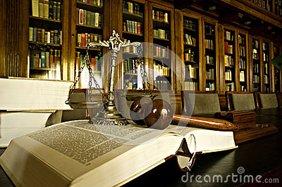Symbol of Justice in the library