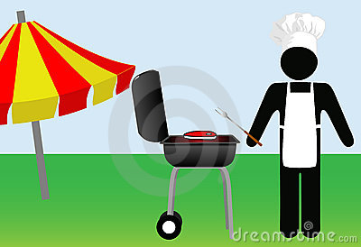 Symbol Man chef Cooks Out on Barbecue