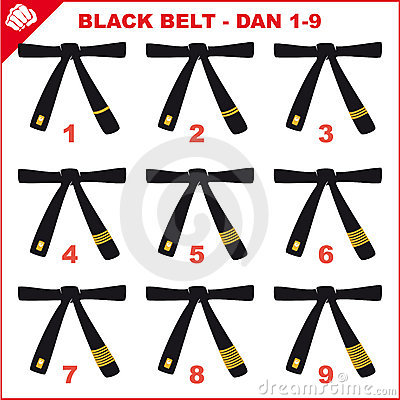 Symbol Martial arts- Black belts.