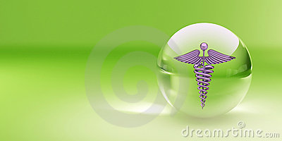Symbol of medicine in glass sphere