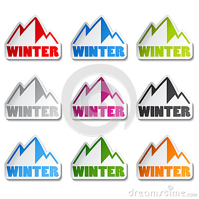 Symbol of mountains - sticker of winter