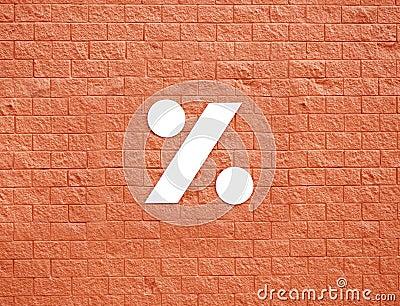 Symbol na czerwieni ścianie