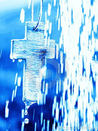 Free Symbol Of Baptism - Cross Under Water Shower Stock Images - 19015854