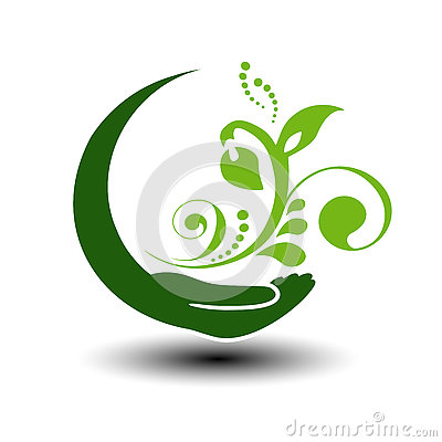 Free Symbol Of Green Energy.  Circular Natural Element. Hand And Flower With Leaf. Nature Icon. Stock Image - 78256831