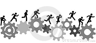 Symbol people run a race on industry gears