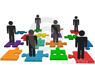 Symbol people team stand on jigsaw puzzle pieces