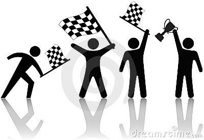 Symbol People Wave Checkered Flag Trophy
