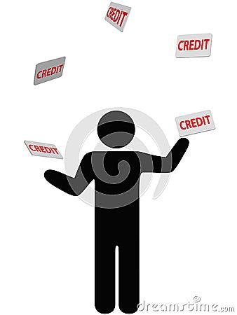 Symbol person juggles finances credit card debt