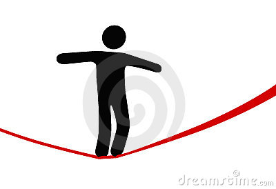 Symbol person walks danger tightrope