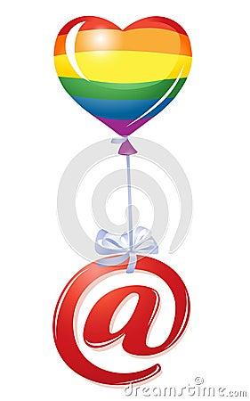 At-symbol with rainbow heart balloon