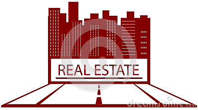 Symbol of real estate with place for text