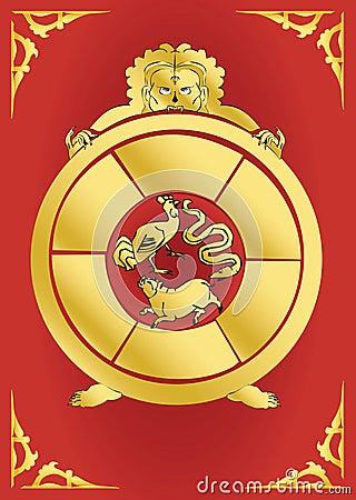 Bouddhist symbol-Golden Samsara Wheel