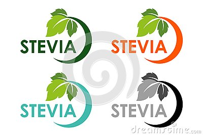 Stevia or sweet grass logo set with green herbal leaves Vector Illustration