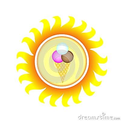 A symbol of sun with ice cream