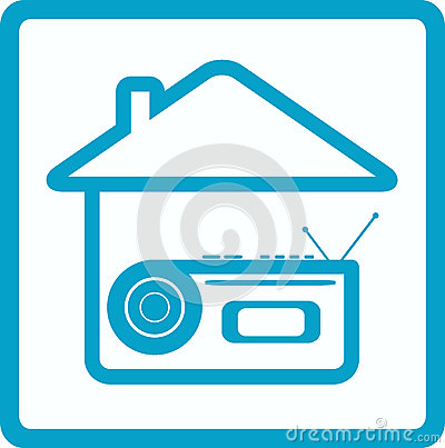 Symbol with voice recorder and house