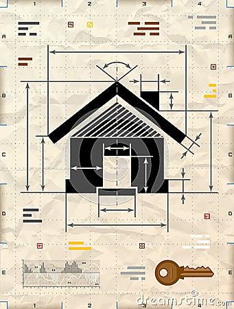 Symbole de chambre en tant que dessin technique de mod le for Chambre technique