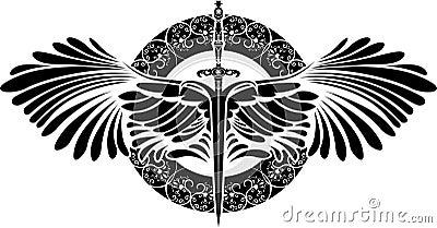 Symbole de la protection p e avec des ailes illustration - Symbole de protection ...