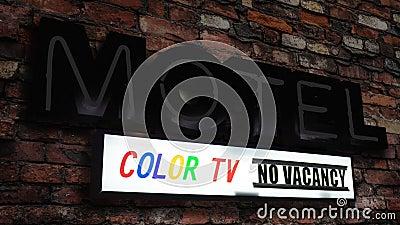 Symbole Du Motel Retro Neon Avec Une Télévision Couleur clips vidéos