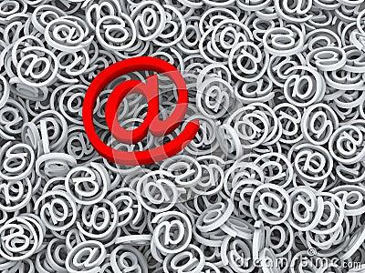 Symbole important d email du message 3d au signe