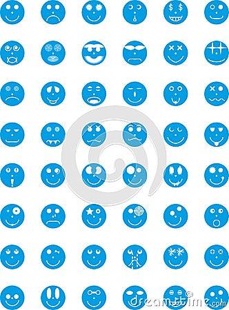 Symbolen, kentekens, pictogrammen met uitdrukkingen van personen
