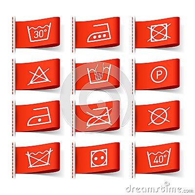 symboles de lavage sur des tiquettes de v tement photo stock image 25047320. Black Bedroom Furniture Sets. Home Design Ideas