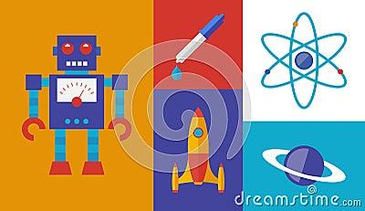 Symboles de vecteur d études spatiales