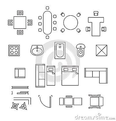 Symboles Linaires De Vecteur Meubles Icnes Plan D
