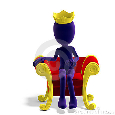 Symbolic 3d male toon character as a king on his