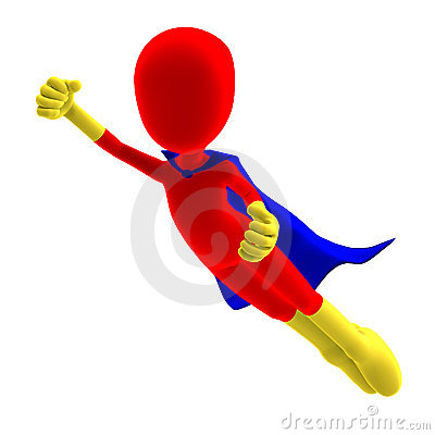 Symbolic 3d male toon character as a super hero