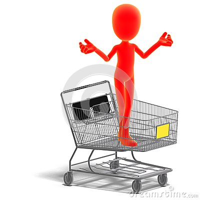 Symbolic 3d male toon character goes shopping