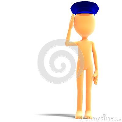 Symbolic 3d male toon character with police hat