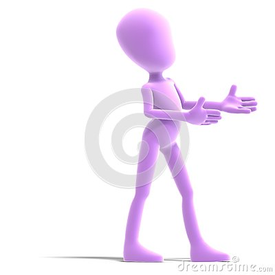 Symbolic 3d male toon character show us the