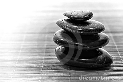 Symbolic Black Zen Stone Cairn for Calm Meditation