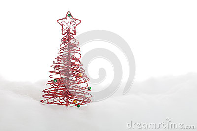 Symbolic Christmas tree in the snow
