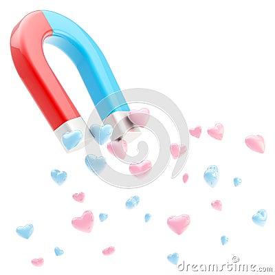 Symbolic horseshoe magnet attracting love hearts