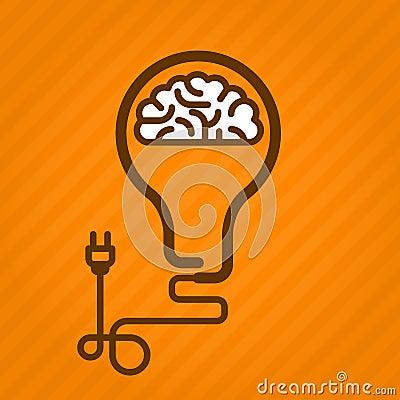 Symbolic light bulb with brain inside