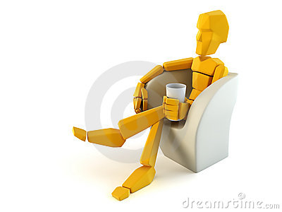 Symbolic man relax in easy chair