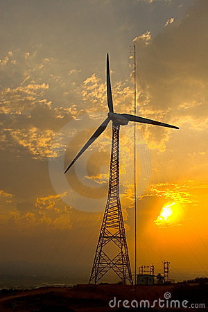 Symbolic - Power windmill and sun light