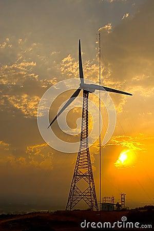 Symbolic - Power windmill and sun light