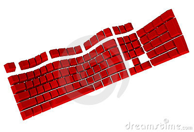 Symbolic Red Computer Keyboard in 3D