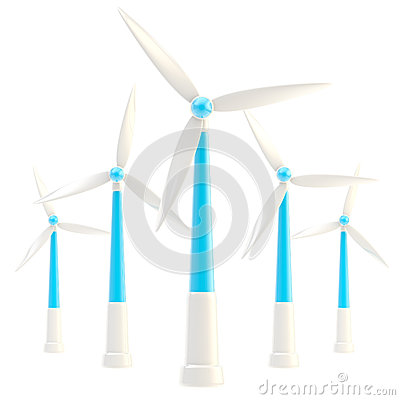 Free Symbolic Wind Power Stations Isolated Royalty Free Stock Photos - 24684038