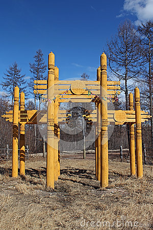Symbolic wooden gate