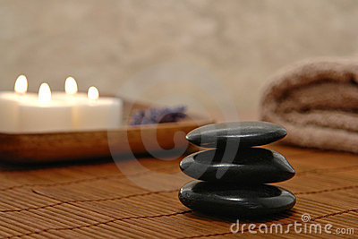 Symbolic Zen Inspired Stone Cairn in a Spa