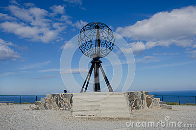 Symboliczna kula ziemska przy Północnym Cape/Nordkapp