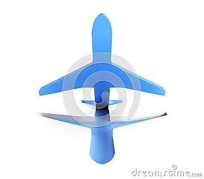Symbolisches Flugzeug entfernen sich