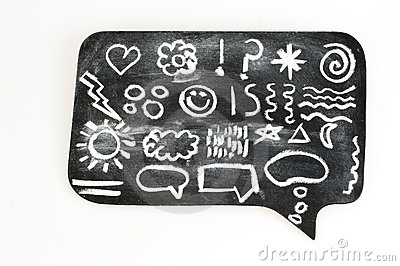 Symbols on Chalkboard