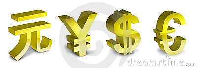 Symbols of the euro, yen, yuan and dollar