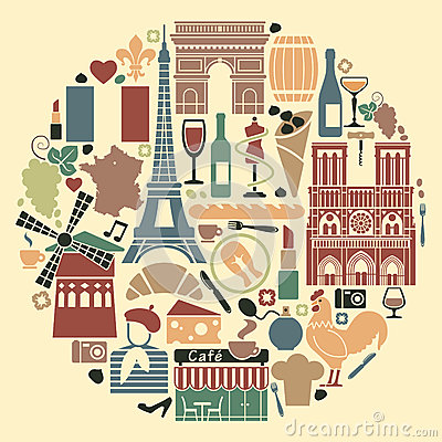 Symbols of France in the form of a circle