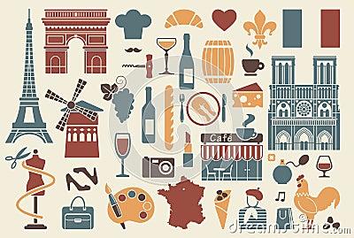 symbols of france stock illustration image 39501369. Black Bedroom Furniture Sets. Home Design Ideas