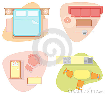 Symbols of furniture of different rooms